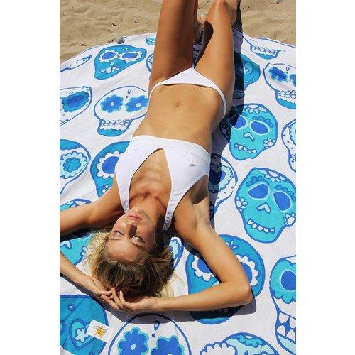 Mycha Ibiza Roundie rond strandlaken Cala happy skull blauw