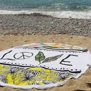 Mycha Ibiza Roundie rond strandlaken Cala Love wit