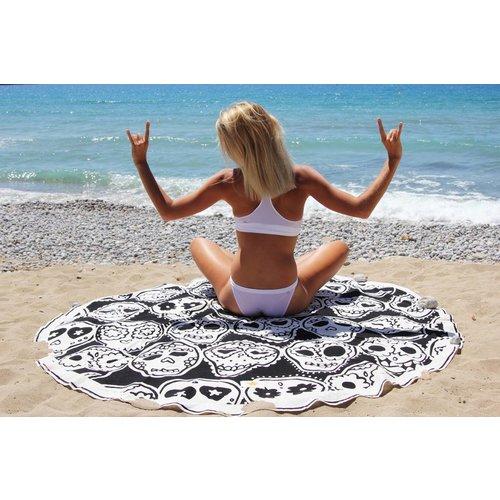 Mycha Ibiza Roundie rond strandlaken Cala happy skull zwart