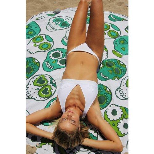 Mycha Ibiza Roundie rond strandlaken Cala happy skull groen