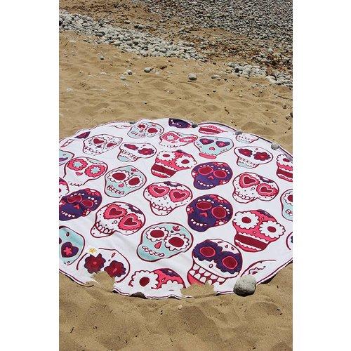 Mycha Ibiza Roundie rond strandlaken Cala happy skull roze