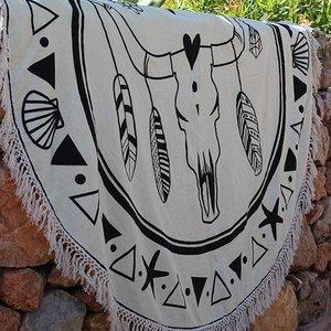 Mycha Ibiza Roundie Cow skull zwart met badstof