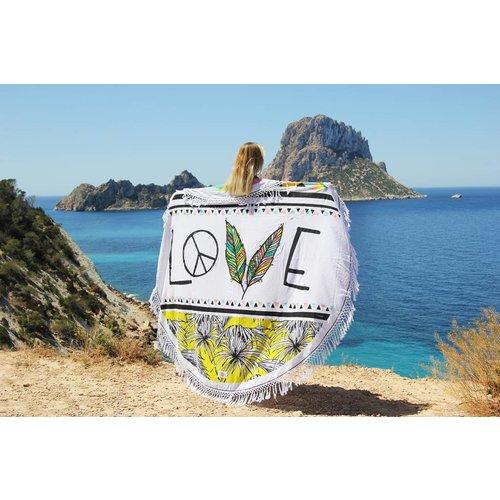 Mycha Ibiza Roundie rond strandlaken Love wit met franje