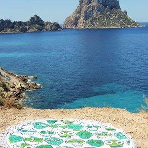 Mycha Ibiza Roundie rond strandlaken happy skull groen met franje