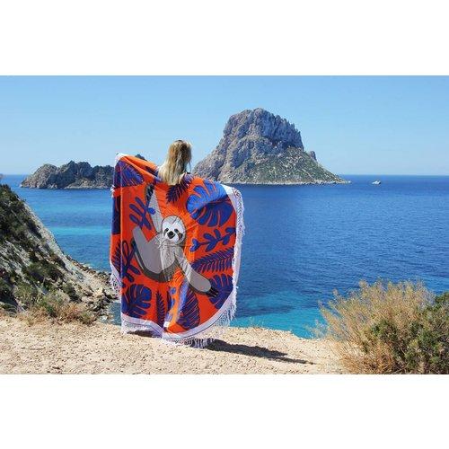 Mycha Ibiza Roundie rond strandlaken luiaard oranje met franje