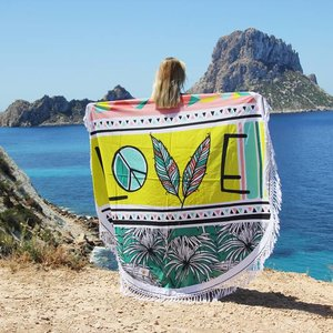 Mycha Ibiza Roundie rond strandlaken Love lime met franje
