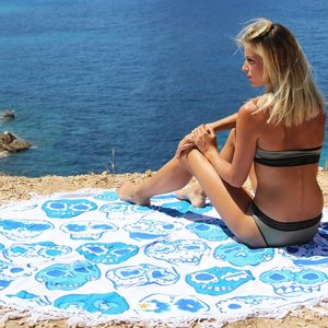 Mycha Ibiza Roundie rond strandlaken happy skull blauw met franje