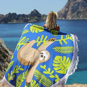 Mycha Ibiza Roundie rond strandlaken luiaard blauw met franje