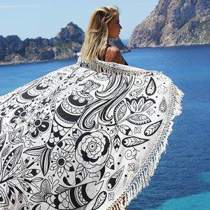 Mycha Ibiza Roundie rond strandlaken mermaid zwart met franje