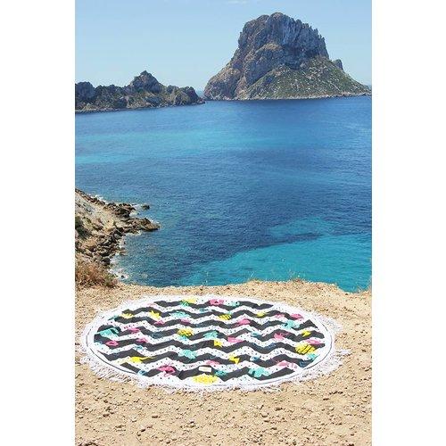 Mycha Ibiza Roundie rond strandlaken Embleem met franje
