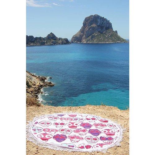 Mycha Ibiza Roundie rond strandlaken happy skull roze met franje