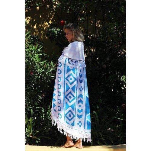 Mycha Ibiza Roundie Aztec 2  blauw met badstof