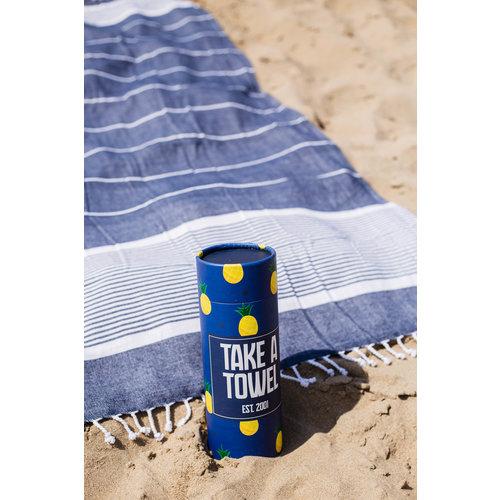Take A Towel Take A Towel Hamamdoek donkerblauw tropical  TAT 2-3