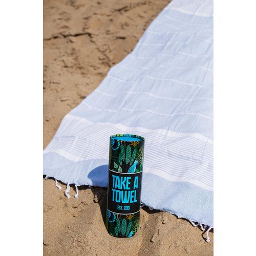 Take A Towel Take A Towel Hamamdoek lichtblauw leopard TAT 3-2