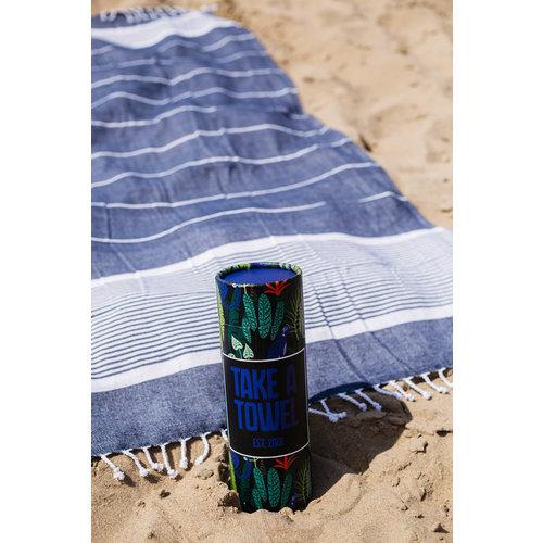 Take A Towel Take A Towel Hamamdoek donkerblauw leopard TAT 3-4