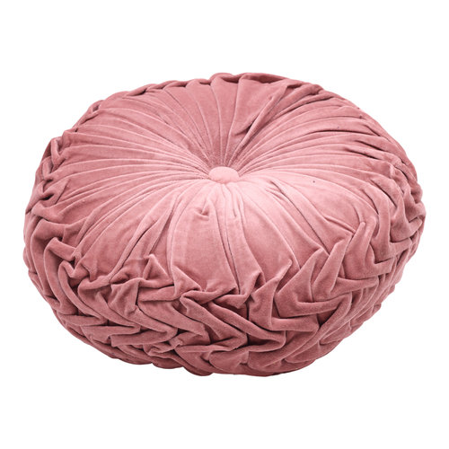 Mycha Ibiza Velvet rond sierkussen 45cm Roze 2
