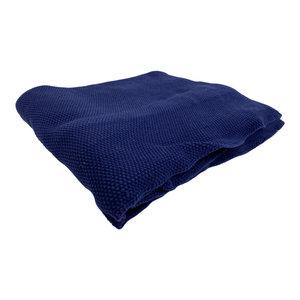 Mycha Ibiza Plaid Jutta zacht gebreid 130 x160 Donkerblauw