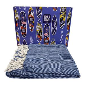 Take A Towel Take A Towel Hamamdoek Blauw Surfboard TAT 6A-1