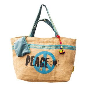 Mycha Ibiza Eivissa XL4 recyclede jute shopper strandtas Azuurblauw