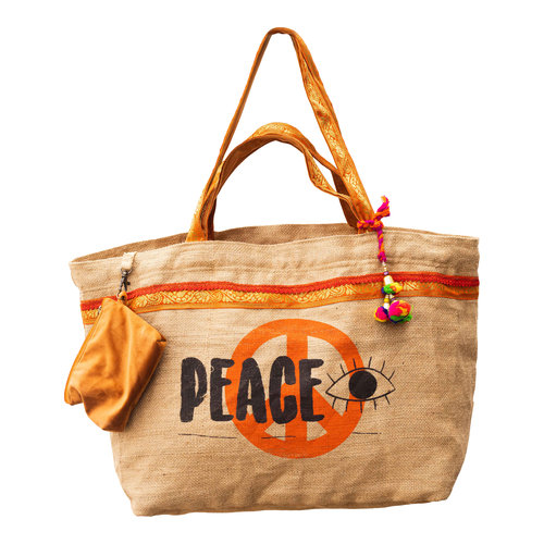 Mycha Ibiza Eivissa XL2 recyclede jute shopper strandtas Oranje
