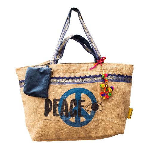 Mycha Ibiza Eivissa XL3 recyclede jute shopper strandtas Donkerblauw
