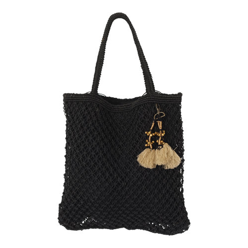 Mycha Ibiza Jute shopper tas Jill zwart