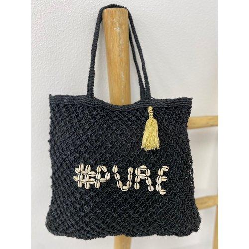 Mycha Ibiza Jute shopper tas Pure zwart