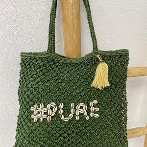 Mycha Ibiza Jute shopper tas Pure groen