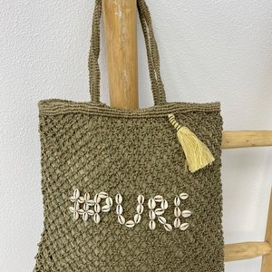 Mycha Ibiza Jute shopper tas Pure khaki