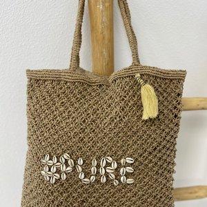 Mycha Ibiza Jute shopper tas Pure beige naturel