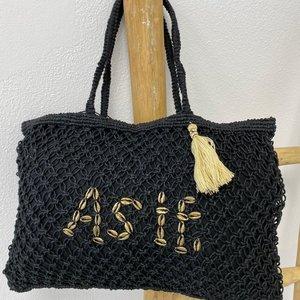 Mycha Ibiza Jute shopper tas As If zwart