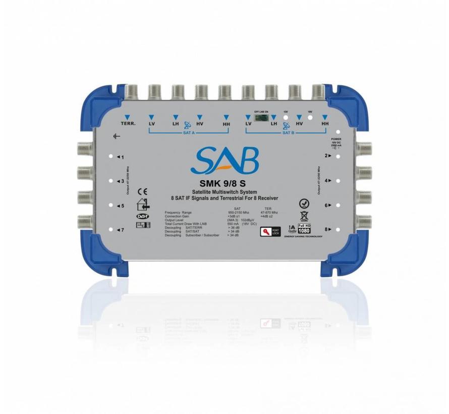 SAB Multiswitch SMS 9/8 (K212) voor 2 satellieten op 8 gebruikers