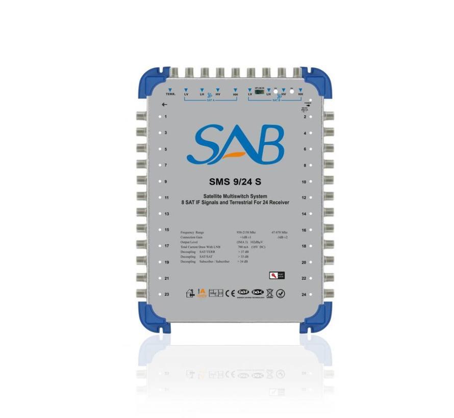 SAB Multiswitch SMS 9/24 (K220) voor 2 satellieten op 24 gebruikers