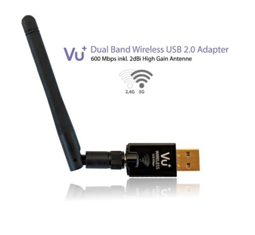 VU+ dual band WiFi USB 2.0 adapter 600 Mbps met antenne