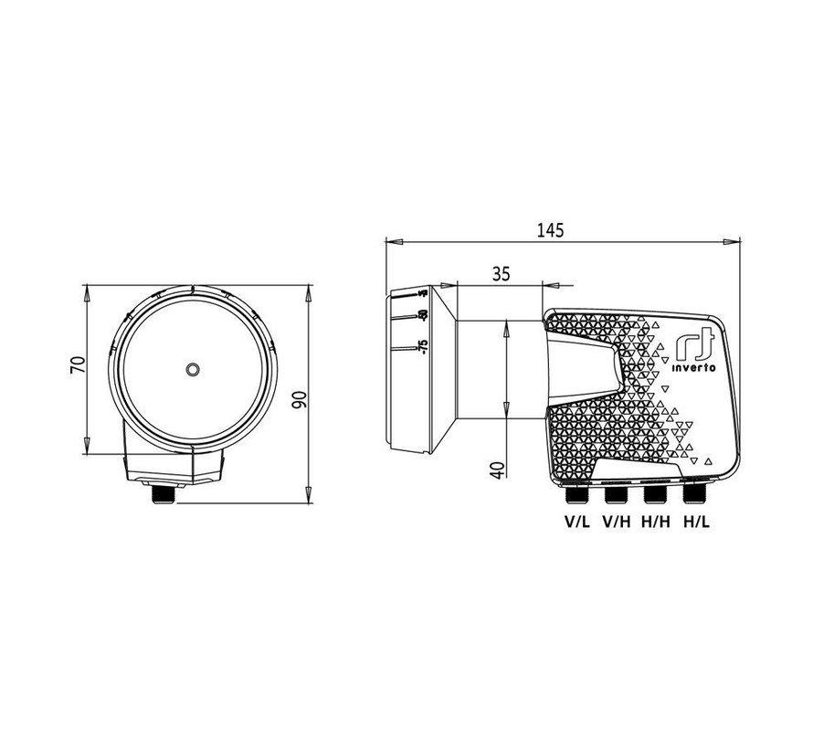 Inverto IDLP-QTL410-PREMU-OPN Premium Quattro 40mm PLL LNB