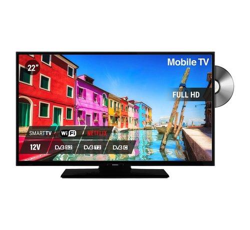 """Nikkei Nikkei NLD22FMBK SMART 22"""" 12V LED FHD DVD S2/C/T2 CI+ HEVC"""