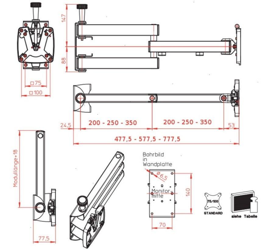 Novus SKY 10-200 20cm 12kg monitor mount vesa vergrendelbaar