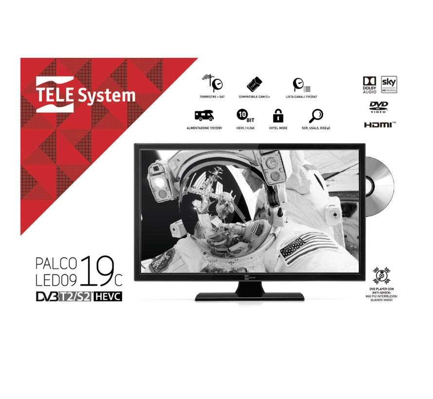 TeleSystem Palco 19LED09C DVD 18.5inch 12/230V S2/T2/C