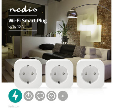 Nedis Wi-Fi Smart-Stekker | Schuko Type-F | 10 A | 3-Pack