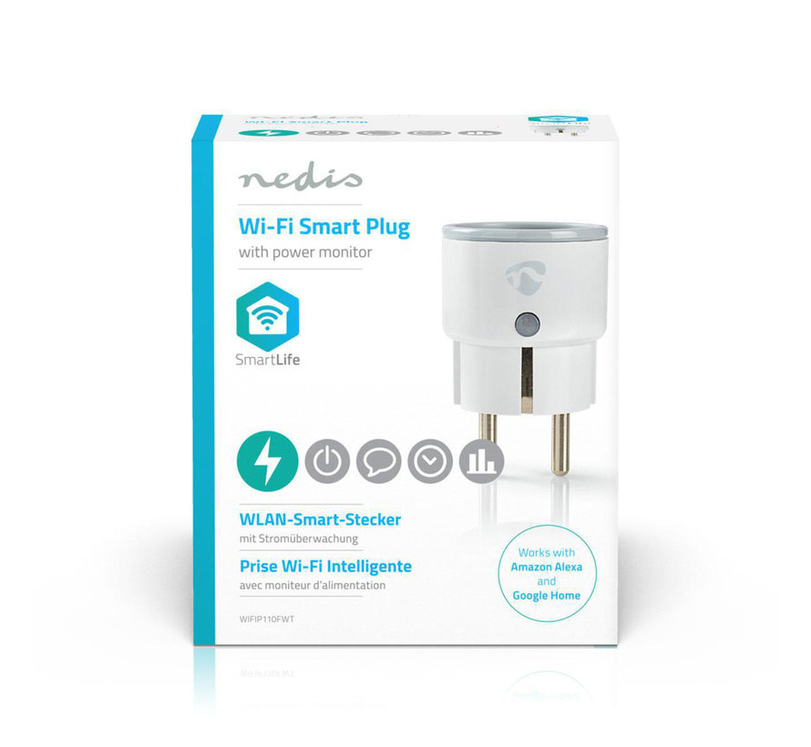 Wi-Fi smart plug | Stroommeter | Schuko type F | 10A
