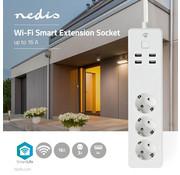 Nedis Wi-Fi Smart Stekkerdoos | 3x Schuko Type F | 4x USB | 16 A