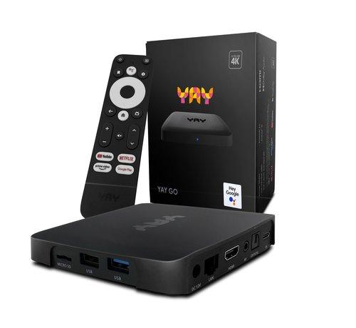 YAY GO 4K UHD OTT IPTV mediaspeler met Chromecast - Android TV