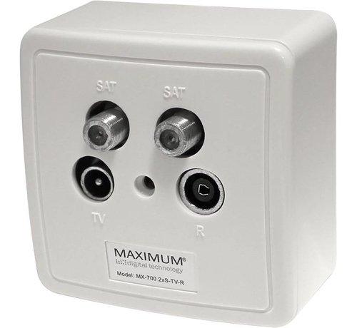 Maximum Maximum Wandcontactdoos in- en opbouw 2 x SAT - RTV