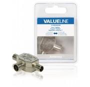 Valueline Coax T-Splitter metaal 0-1000Mhz