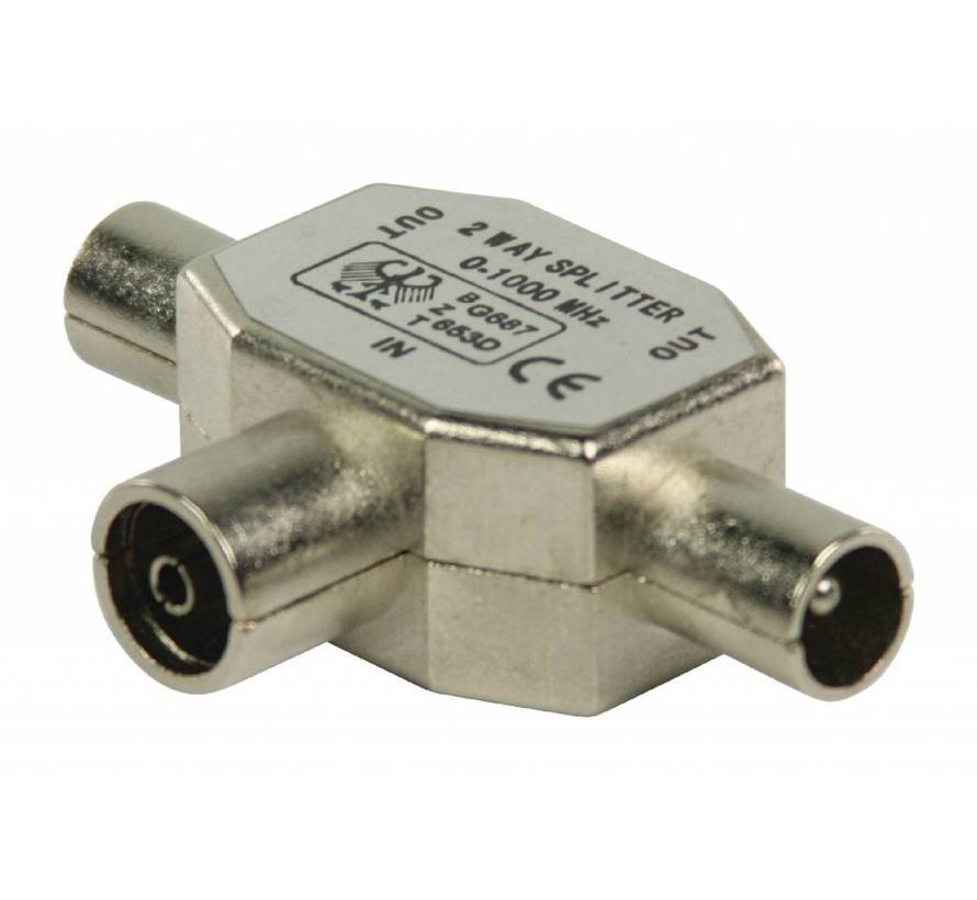 Valueline Coax T-Splitter coax vrouwelijk - 2x coax mannelijk metaal
