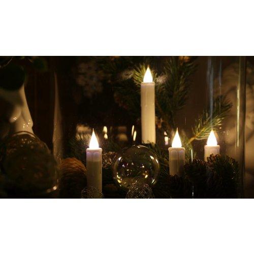 10er-Set Weihnachtsbaumkerzen  3D-Flamme Timer weiß