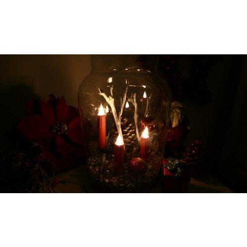 10er-Set Weihnachtsbaumkerzen  3D-Flamme Timer rot