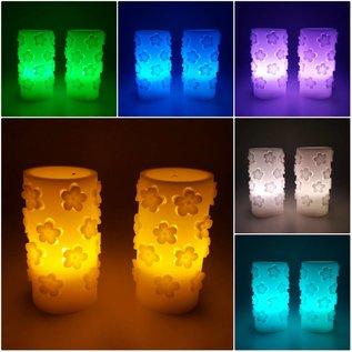 2er Set LED Kerzen Farbwechsel Cut-Out Design