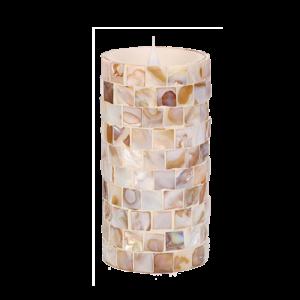 3D-Kerze mit Flackereffekt im Perlmutt-Mosaik-Design 15 cm- 02614