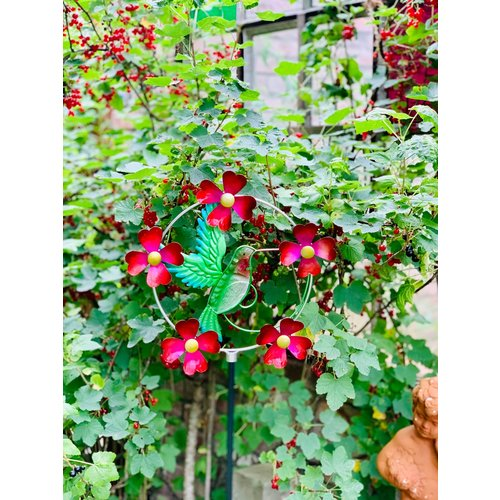 Gartenwindspiel mit beweglichen Blüten 04852